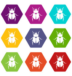 Scarab icon set color hexahedron vector