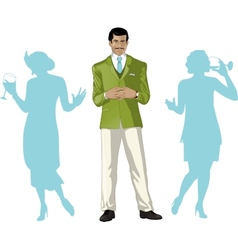 Asian male party host with female guests vector image