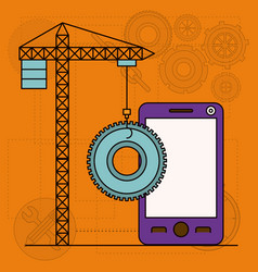 background with crane tower and pinion and vector image vector image