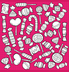 sketch tasty sweet products pattern vector image vector image