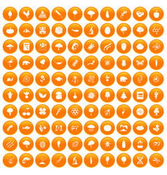 100 microbiology icons set orange vector