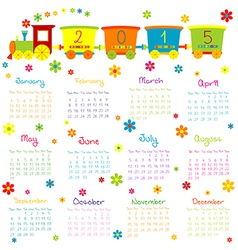 2015 Calendar with toy train and flowers vector image