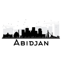 abidjan city skyline black and white silhouette vector image