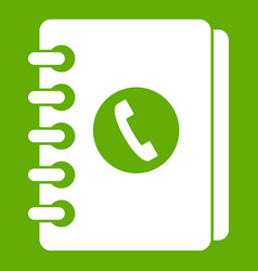 address book icon green vector image