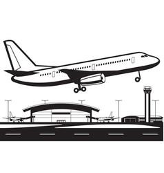 Aircraft landing on runway at airport vector