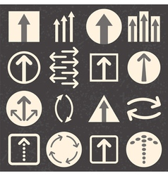 Arrow sign icon set on black background vector