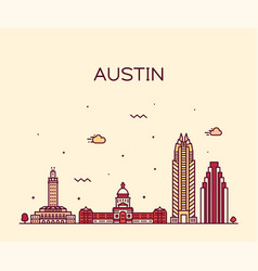 Austin skyline texas usa linear style vector