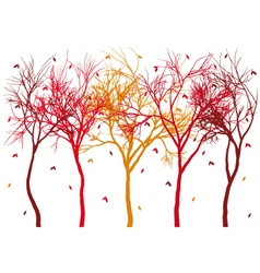 Autumn trees with falling leaves vector