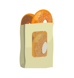 Bagels with poppy and sesame seeds in paper vector