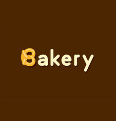 baker logo with pretzel roll - emblem vector image