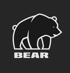 Bear monochrome logo on a dark background vector
