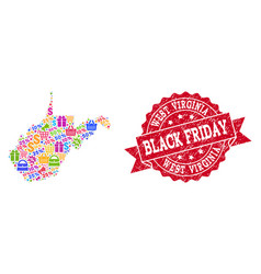 Black friday collage of mosaic map of west vector
