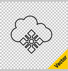 black line cloud with snow icon isolated on vector image
