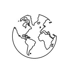 Black line earth globe over vector