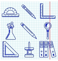 Black school goods icons Part 3 vector image