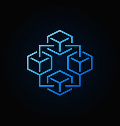 Blockchain technology blue icon - block vector