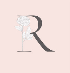 blooming floral initial r monogram and logo vector image
