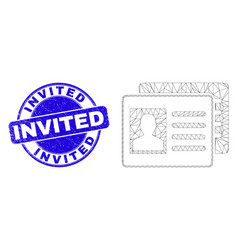 Blue distress invited stamp seal and web carcass vector