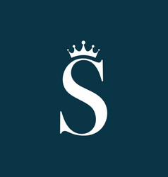 blue white s letter with crown logo template vector image