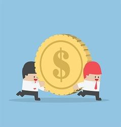 Businessman help his friend carrying big money vector image