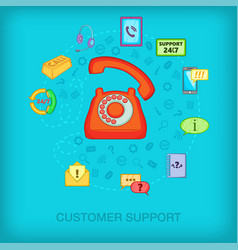Call center concept old phone cartoon style vector