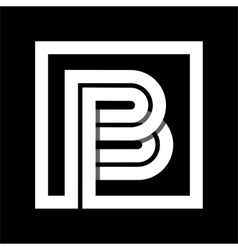 Capital letter B From white stripe enclosed in a vector image