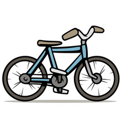cartoon blue bicycle isolated on white background vector image