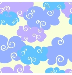 Cartoon clouds daytime seamless pattern vector
