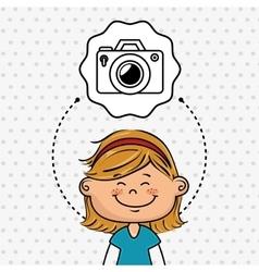 cartoon girl school icon vector image