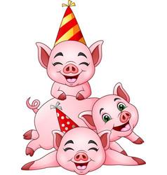 Cartoon three little pig in a party cap vector