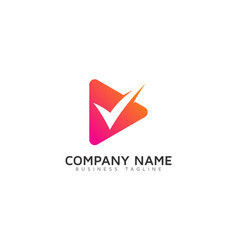 Check video logo icon design vector
