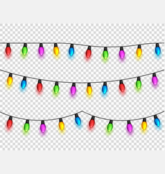 christmas glowing lights on transparent background vector