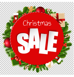 christmas sale banner transparent background vector image