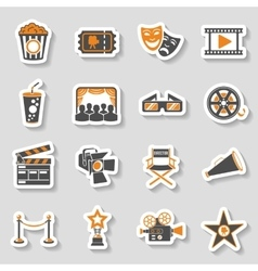 Cinema and Movie sticker Icons Set vector