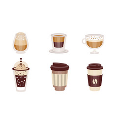 coffee drinks in transparent glasses vector image
