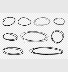 collection of hand drawn line circles vector image