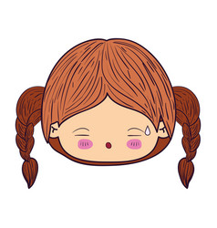Colorful caricature kawaii face little girl with vector