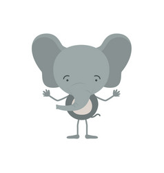 Colorful caricature of cute elephant happiness vector