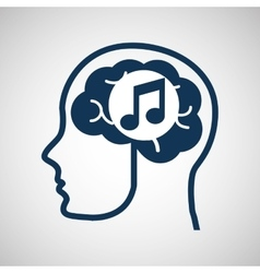 concept network silhouette head with media music vector image