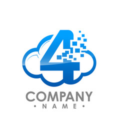 Creative abstract data cloud number four logo vector