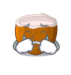 Crying cartoon beverage coconuts on the beach vector