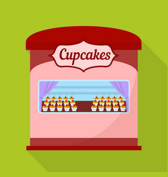 cupcakes street shop icon flat style vector image