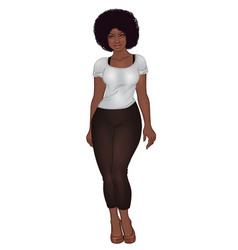 curvy african american girl in casual wear and vector image