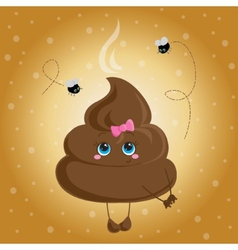 Cute turd with a bow and flies vector