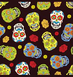 day dead seamless pattern handdrawn sugar vector image