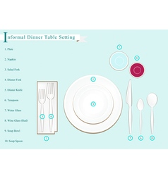 Detailed of Dinner Table Setting vector image