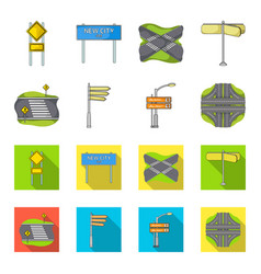 Direction signs and other web icon in cartoonflat vector