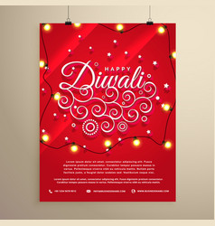 Diwali flyer invitation template for the festival vector