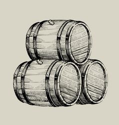 Drawing wood barrel vector