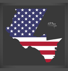 El paso texas map with american national flag vector